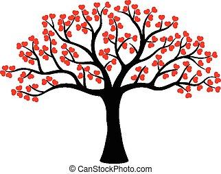 Stylized love tree cartoon made of