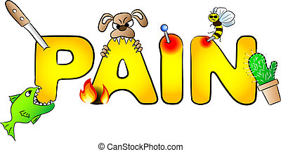 vector illustration of the word pain with many aches