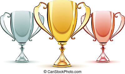 Vector illustration of three trophies - gold, silver and bronze