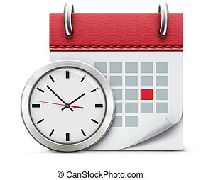 Vector illustration of timing concept with classic office clock and detailed calendar icon