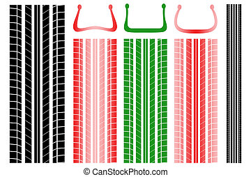 Vector illustration of tire tracks with information on the proper pressure
