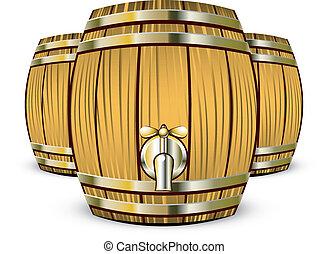 Vector illustration of Wooden Barrels over white. EPS 8, AI, JPEG