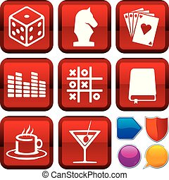 Set of leisure icons on square buttons. Geometric style.