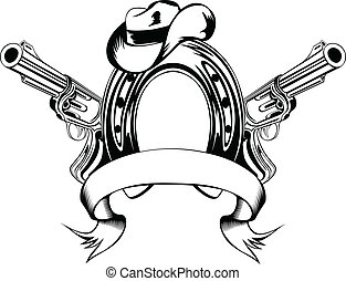 Vector illustration two revolvers, horse shoe and cowboy's hat