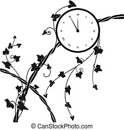 clock and ivy