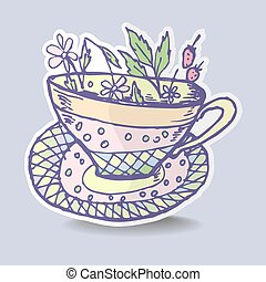 Vector illustration with the image of a cup of herbal tea, stick