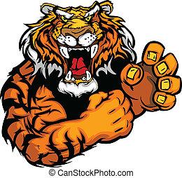 Tiger Fighting Mascot Body Vector Illustration