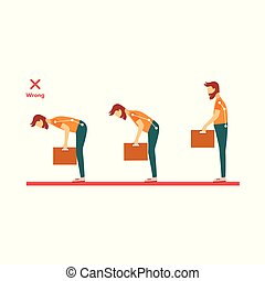 vector incorrect spine man lifting weight