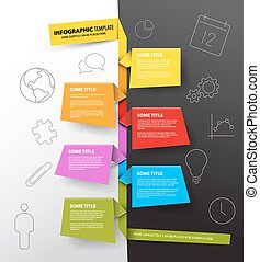 Vector Infographic timeline report template made from colorful papers on a black and white background