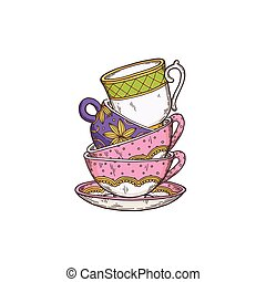 Vector isolated illustration of stack colored hand drawn tea cups for tea time
