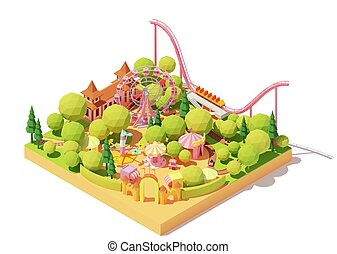 Vector isometric amusement park map