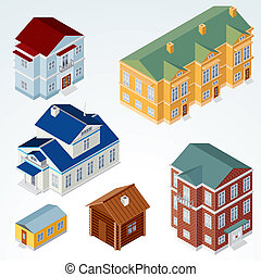 Set of Isolated Isometric Buildings, illustration of Various Urban and Rural Houses and Dwellings, Detailed Vector Clip-Art with Easy Editable Colors