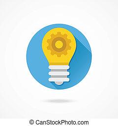 Vector Light Bulb and Gear Icon