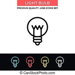 Vector light bulb icon. Thin line icon