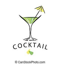 vector logo cocktail glass with umbrella
