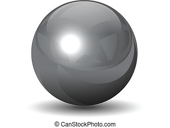 Vector metallic chrome sphere, ball glossy and shining.