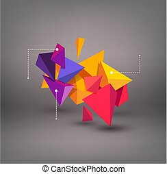 Vector multicolored 3d triangles. abstraction. Element for modern design and infographics.