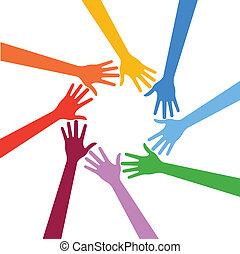 Vector Multiracial Human hands