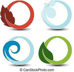 Vector natural symbols - fire, air, water, earth - nature circular elements with flame, bubble air, wave water and leaf