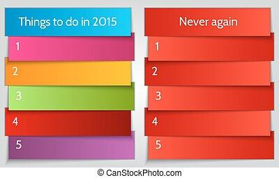Vector New Year Resolution multi color double List template
