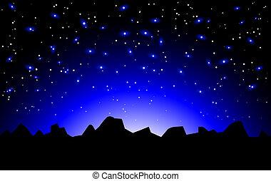Vector night space landscape