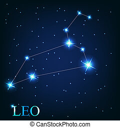 vector of the leo zodiac sign of the beautiful bright stars on the background of cosmic sky