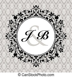 Vector circle floral and ornate frame with sample text and pattern. Perfect as invitation or announcement. Pattern is included as seamless swatch. All pieces are separate. Easy to change colors and edit.