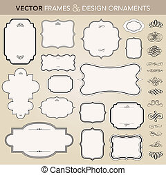 Set of ornate vector frames. Easy to edit. Perfect for invitations or announcements.