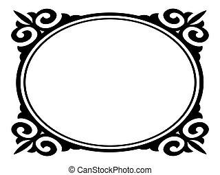 Vector oval ornamental decorative frame