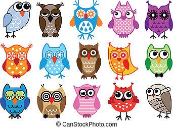 set of colorful owls, vector illustration