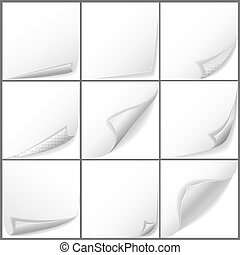 Vector paper curled corners set