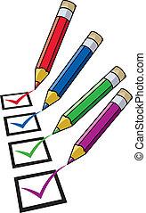 vector pencils and checklist
