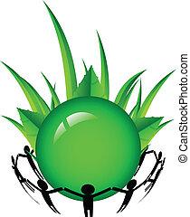 people around the green world