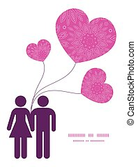 Vector pink abstract flowers texture couple in love silhouettes frame pattern invitation greeting card template graphic design