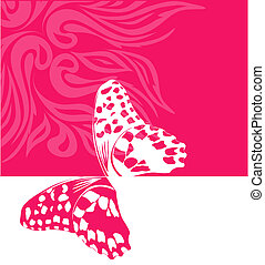 vector pink background with butterfly