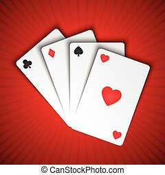 Vector playing cards on red background