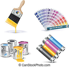 Set of prepress and print work related icons