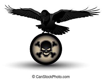 Vector raven on danger symbol