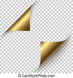 realistic golden foil paper corners set