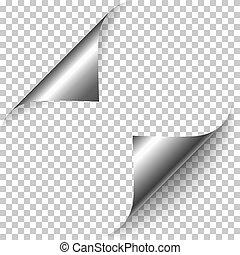 Vector realistic silver foil paper corners set
