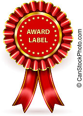Vector Red Award Label with ribbons and bow