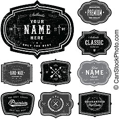 Easy to edit! Vector retro badge set. Great for badges, logos, and stamps.