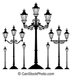 Set of antique retro street light lamps, isolated on white background, full scalable vector graphic.