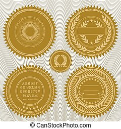 Gold embossed vector seals. Easy to edit