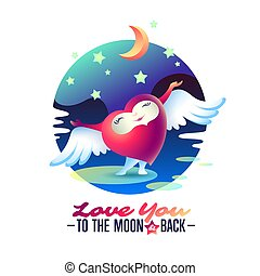 """Vector Saint Valentine love greeting card with heart, wings and words """"To the Moon and back""""."""