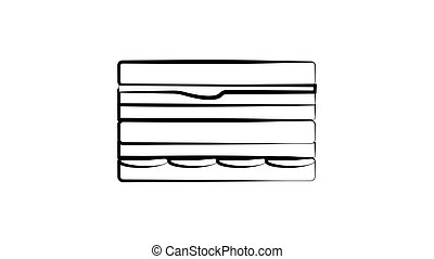 Vector Sandwich with Toothpick Sketch, Hand Drawn Illustration, Outline Black Drawing Isolated on White Background