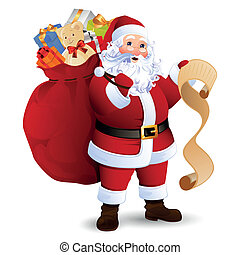 Vector Illustration of Santa Claus carrying sack full of gifts