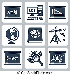 Vector school subjects icons set: algebra, ICT, geometry, geography, ecology, astronomy, physics, biology, chemistry