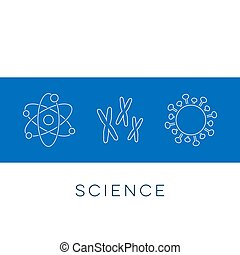 Vector science banner thin line icons
