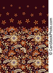 Vector seamless pattern with bright floral ornament. Vintage design element in Eastern style. Ornate floral decor for wallpaper. Traditional arabic decor on dark vine background.